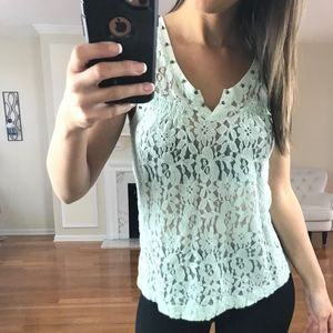 Express Floral Lace Beaded Tank Top, Teal, XS